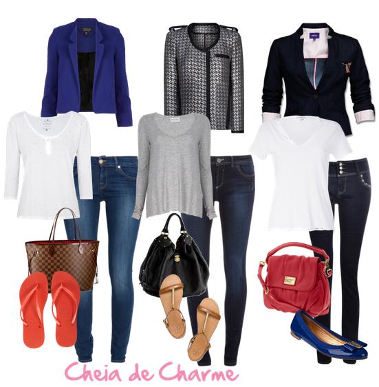 Amanda, usa looks básicos com calça slim escura e blusas neutras, brancas e cinzas, acompanhadas com blazer preto ou azul marinho, e para os pés, sapatilhas e chinelos de dedo.