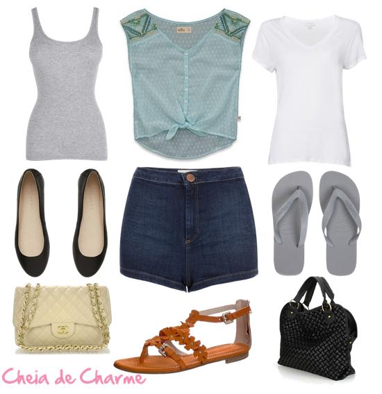 Look com short jeans escuro e tops básicos e frescos.