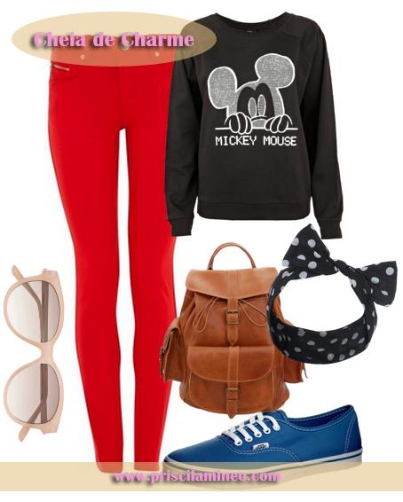 Look usando calça vermelha e moletom, ideal para o dia dia