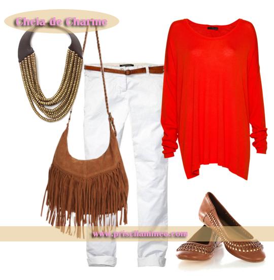 Look com malha vermelha, despojado e ideal para passeios diurnos