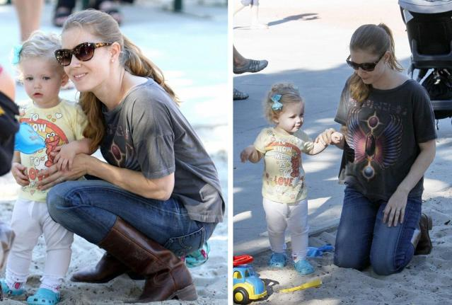 SEMI-EXCLUSIVE: Amy Adams And Family At A Park In Beverly Hills